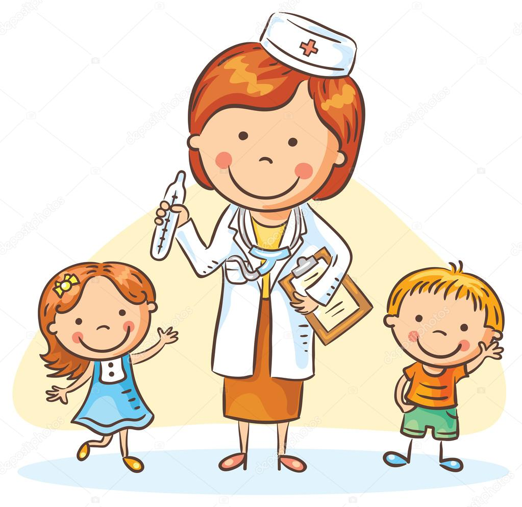 depositphotos 91533028 stock illustration cartoon doctor with happy little